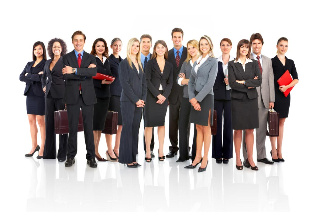 A group of professionally dressed men and women of business.